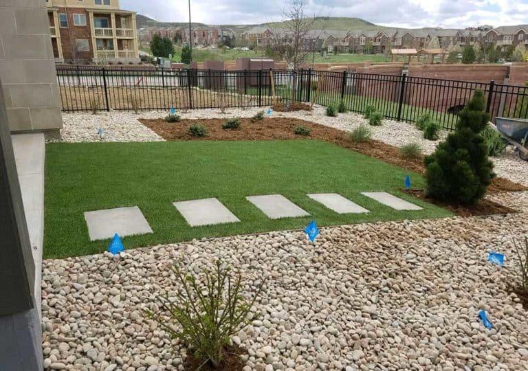 yard with surrounding Stone